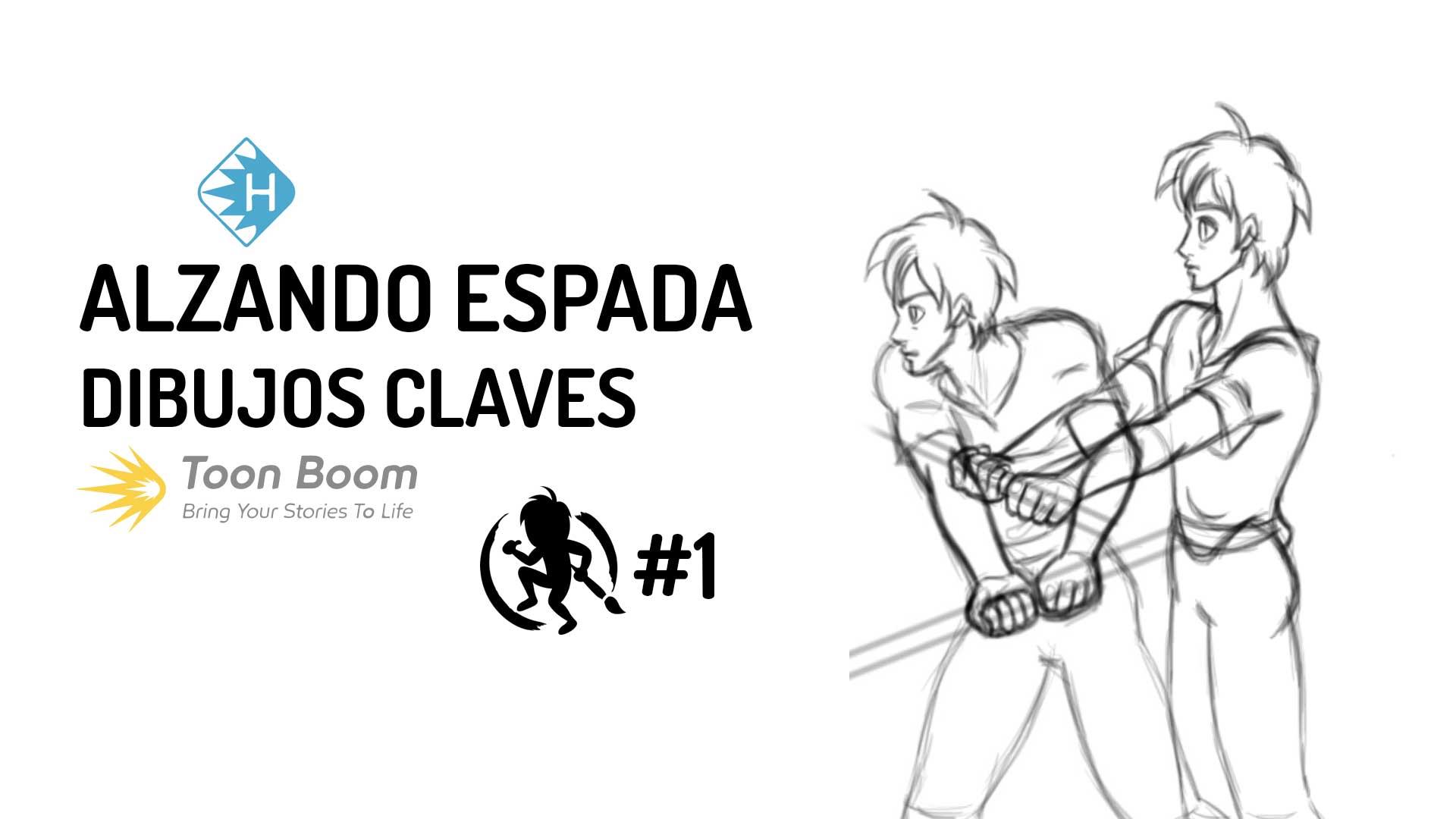 Dibujos claves de la animacion alzando una espada