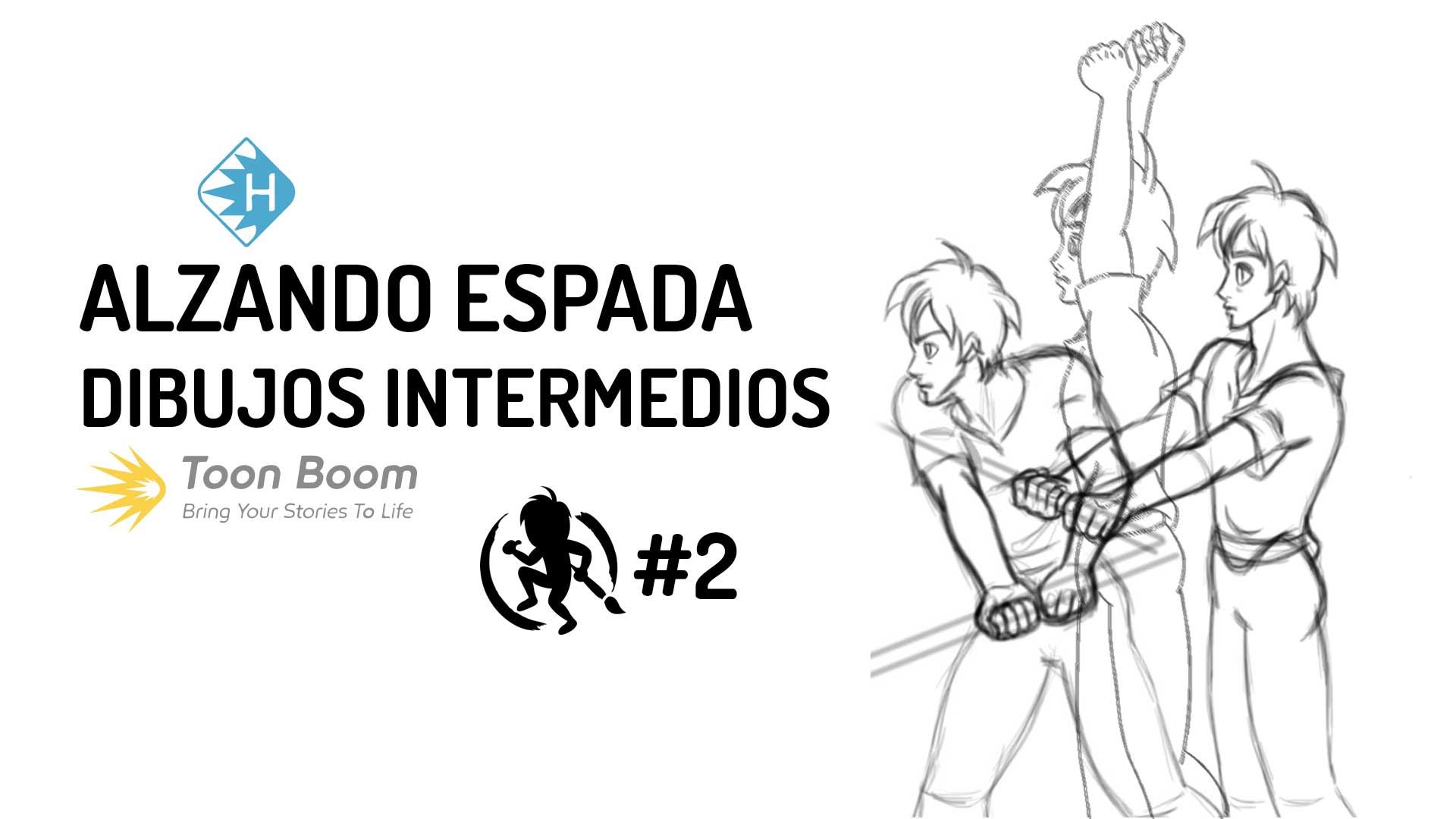 Dibujos intermedios de la animación alzando espada