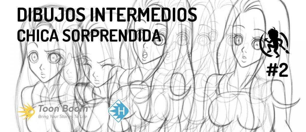 Dibujos intermedios de una chica sorprendida