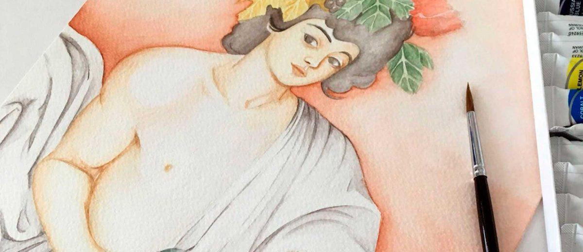 Baco de Caravaggio en Acuarela