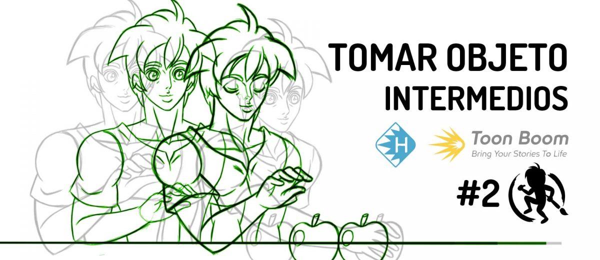 Dibujos intermedios del personaje tomando un objeto