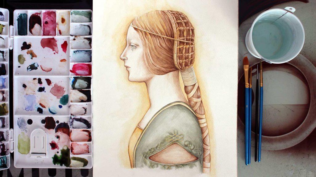 La Bella Principessa de Da Vinci en Acuarela