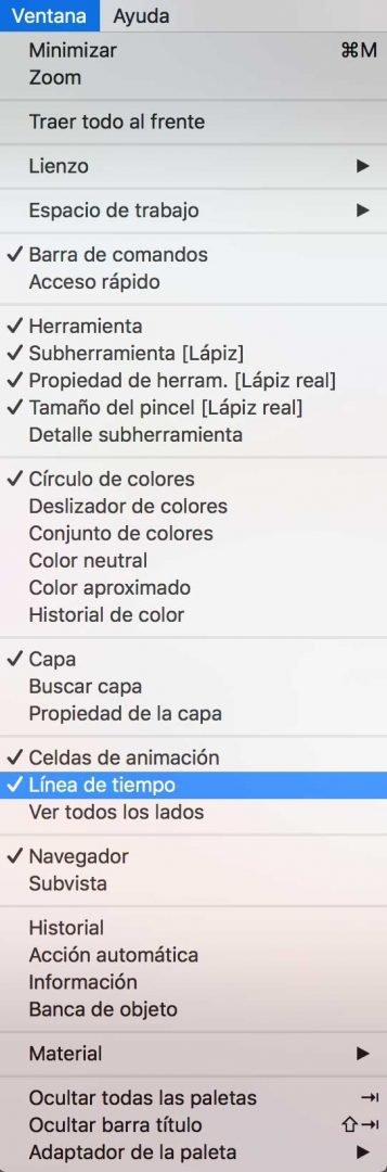 Activar la Línea de Tiempo en Clip Studio Paint
