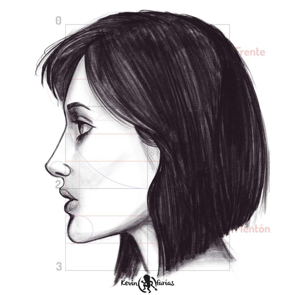 Dibujo - Rostro Femenino de Perfil