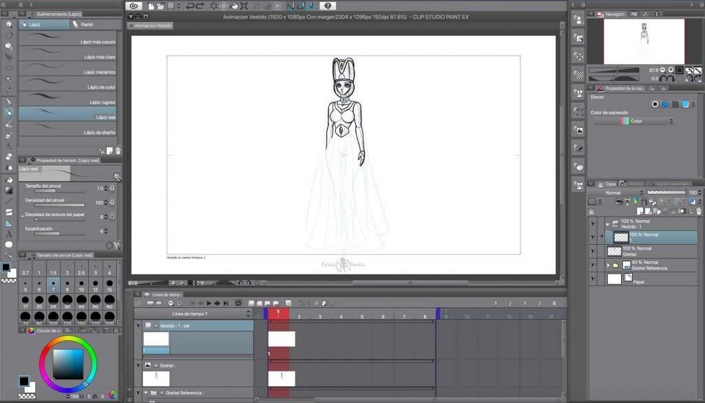 Imagen de muestra del comienzo de la Animación en Clip Studio Paint