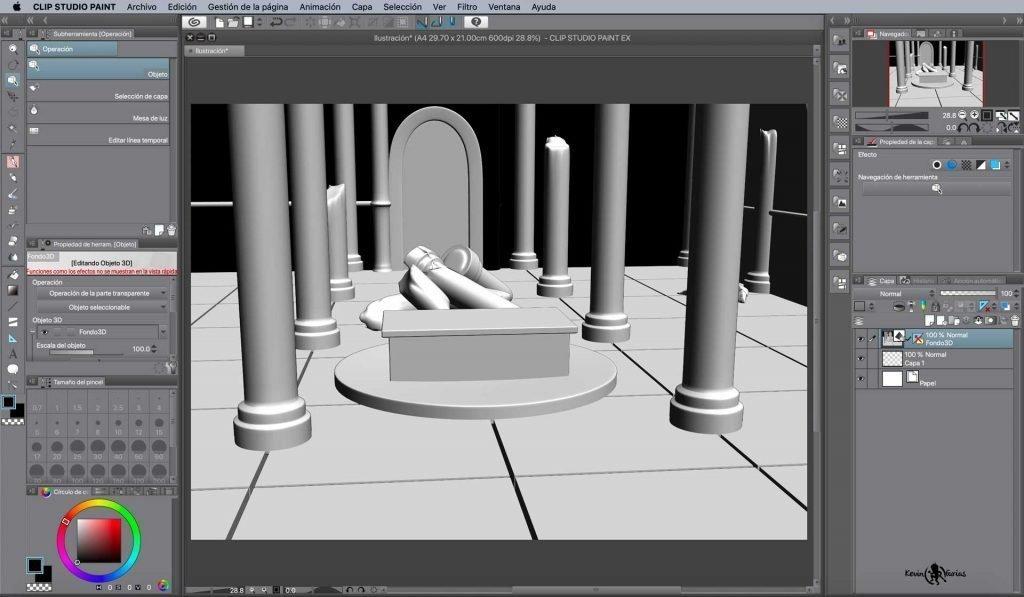 Modelo 3D importado en Clip Studio Paint